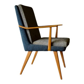 Mid Century Modern Blond Wood Armchair For Sale