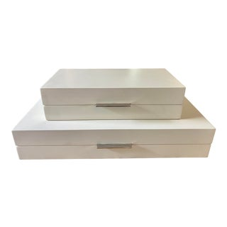 Barbara Barry Global Views Ivory Lacquer Boxes - a Pair For Sale