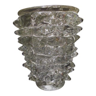 1930s Art Deco Ercole Barovier Murano Glass Rostrati Vase For Sale