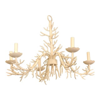 Vintage Palm Beach Metal Coral 5 Light Chandelier For Sale