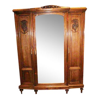 French Walnut 3-Door Armoire
