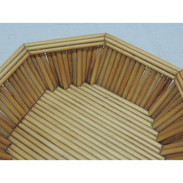"""Hexagonal Vintage Bamboo Fruit Bowl or Serving Basket Hand made in Indonesia. In honey color. Size: 13"""" x 13"""" x 3.5"""" Height"""