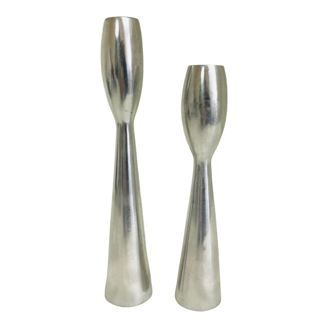 1960s Vintage Space Age Atomic Era Brush Metal Candlestick Holders- A Pair For Sale