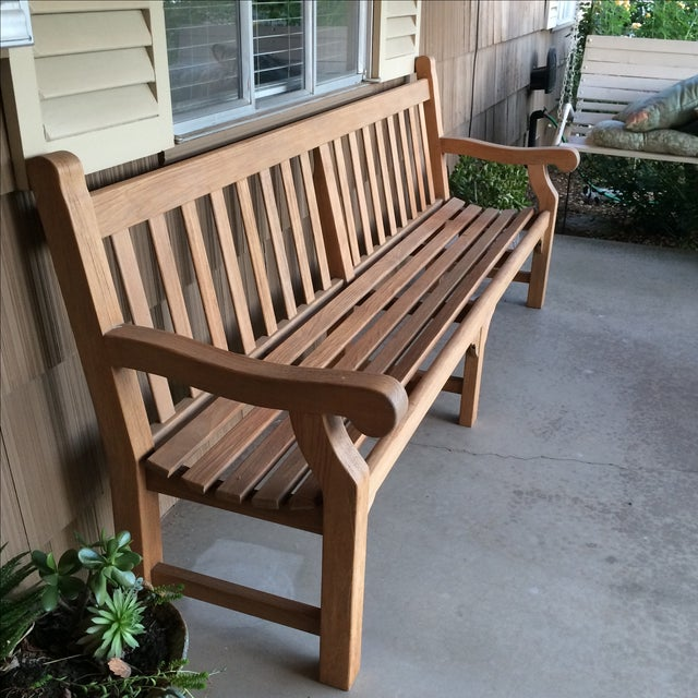 Country Gloster 8' Teak Bench For Sale - Image 3 of 8