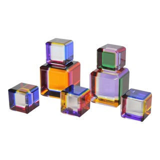 Vasa Velizar Mihich Lucite Cubes - Set of 7 For Sale