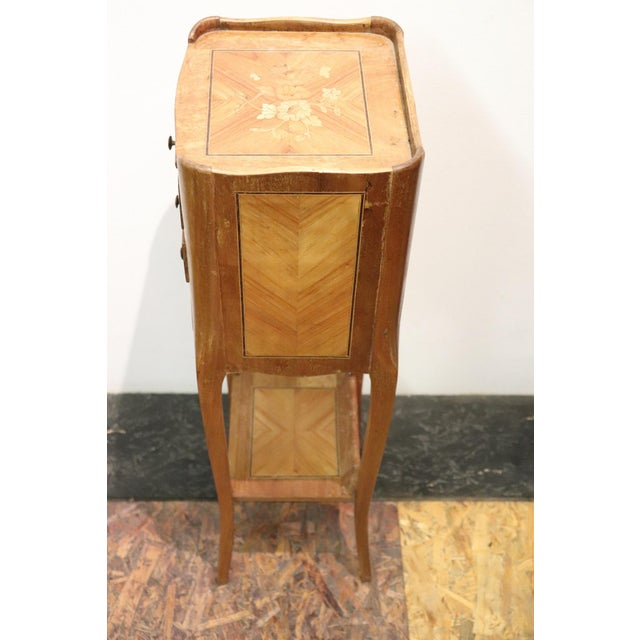 20th Century Italian Louis XV Style Inlay Wood Pair of Side Tables or Nightstand For Sale - Image 9 of 13