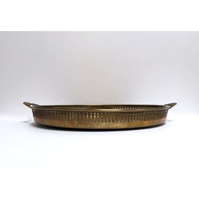 Round Vintage Brass Tray With Floral Handles - Image 6 of 8