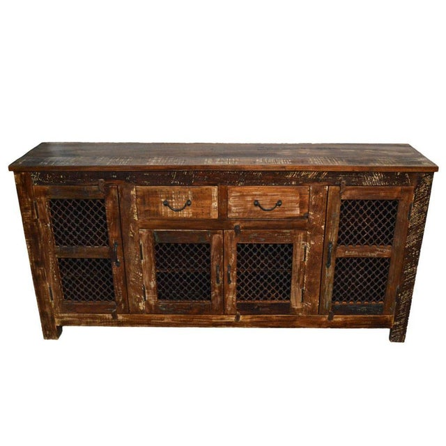 Country Reclaimed Wood & Iron Sideboard For Sale - Image 3 of 3