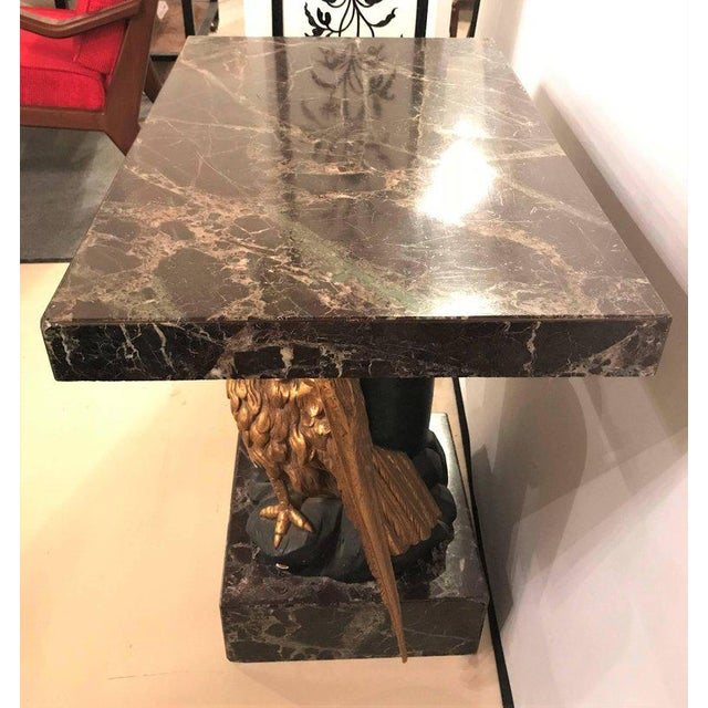 Large Gilded Eagle Marble-Top Console or Pedestal For Sale - Image 4 of 12