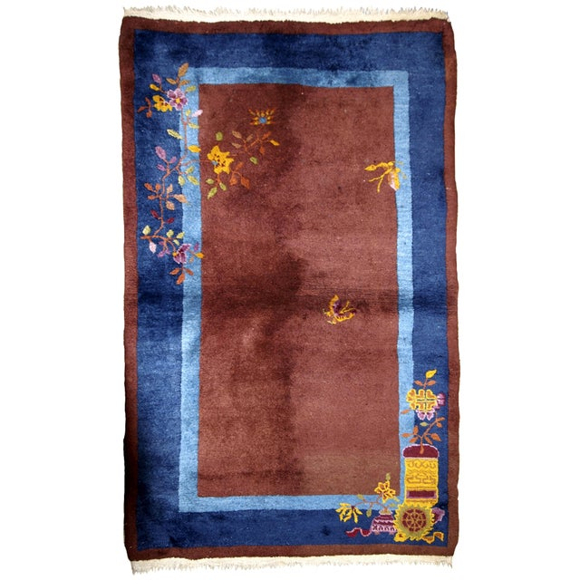 1920s Handmade Antique Art Deco Chinese Rug 3' X 4.11' For Sale - Image 13 of 13