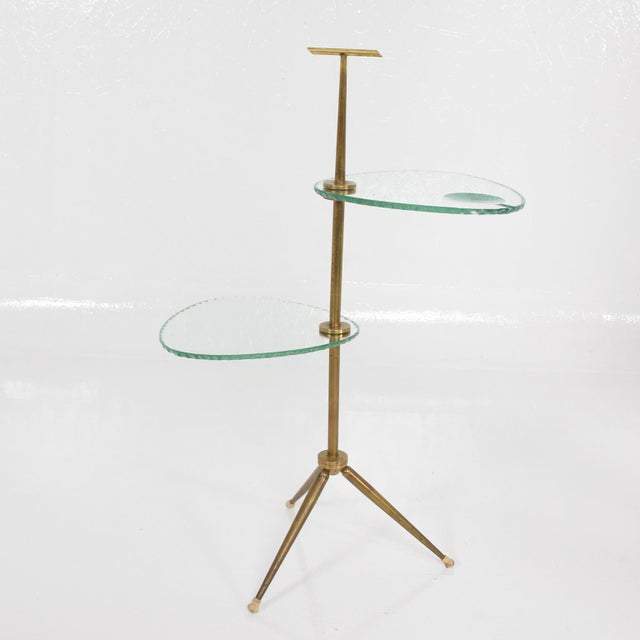Brass Mid Century Modern Italian Side Table Brass & Glass After Fontana Arte For Sale - Image 7 of 11