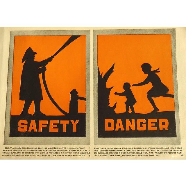 1930 Art Deco Fire Safety Danger Print Character Culture Citizenship Guides