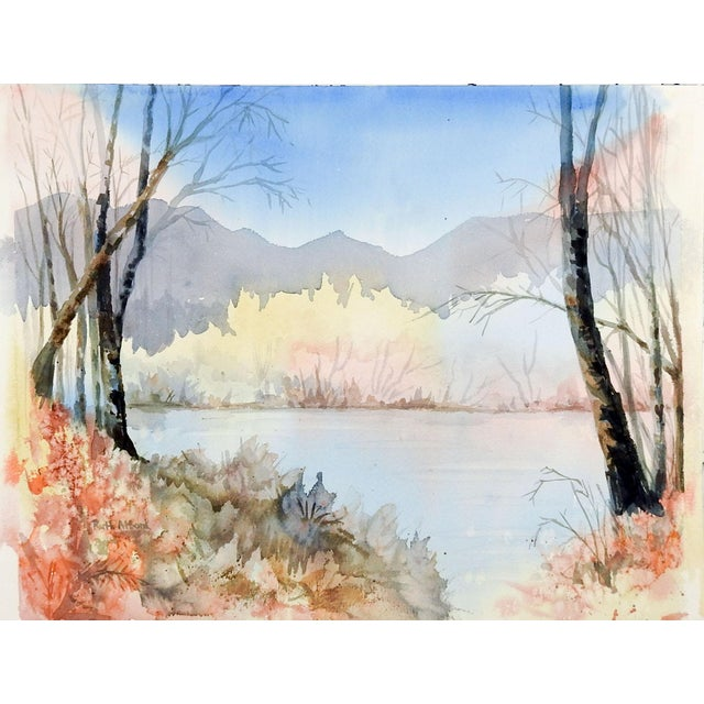 Lakeside Watercolor Painting in Pastel Colors For Sale - Image 4 of 4