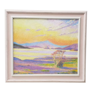 Vintage Desert Sunset Landscape Oil Painting 20th C. For Sale