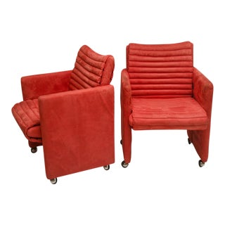 Pair of Coral Suede Channel Quilted Arm Chairs on Castors by Milo Baughman For Sale