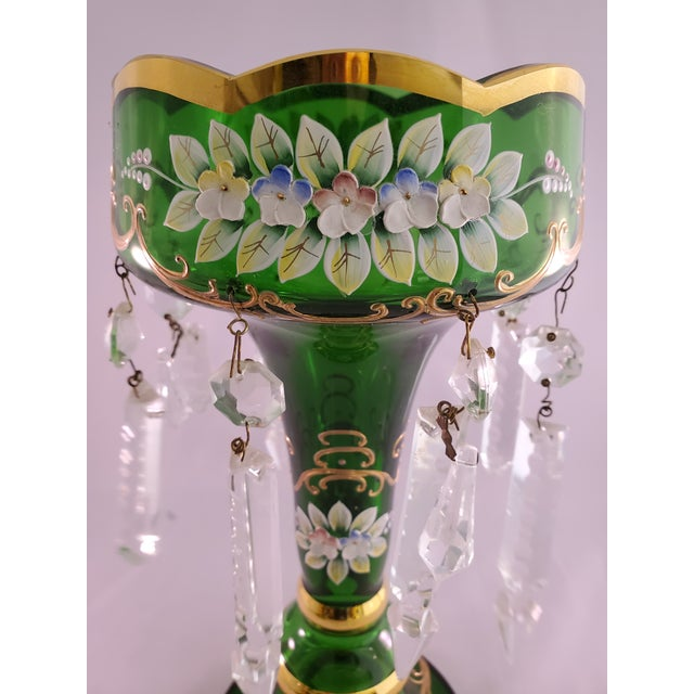 Offered here is Gorgeous Pair of Vintage Green Glass Painted Luster Candle holders with Prisms. The body of these candle...