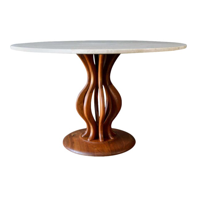 Brown Saltman Travertine and Sculpted Walnut Dining or Bistro Table, Circa 1970 For Sale