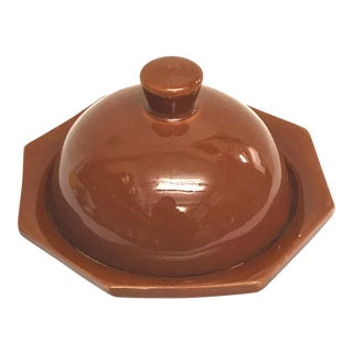 Hand Painted Brown Moroccan Ceramic Serving Dish For Sale