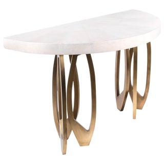 Demi-Lune Lily Console in Cream Shagreen & Bronze-Patina Brass by R & Y Augousti For Sale