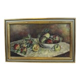 Image of 1930s Vintage Still Life With Apples Painting For Sale