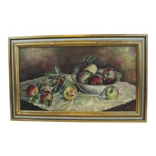 1930s Vintage Still Life With Apples Painting For Sale
