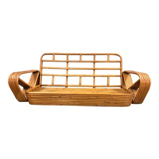 20th Century Paul Frankl Style 6 Band Rattan Loveseat For Sale