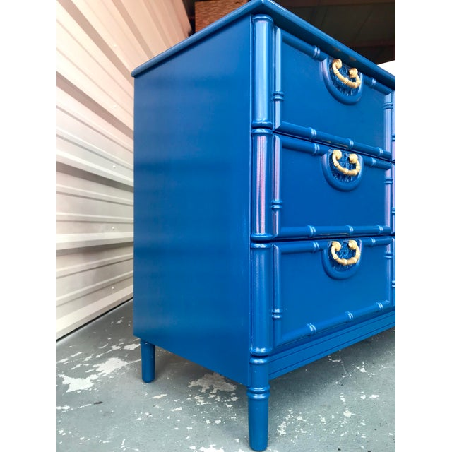 Henry Link Faux Bamboo Newly Lacquered Blue Dresser For Sale - Image 4 of 12