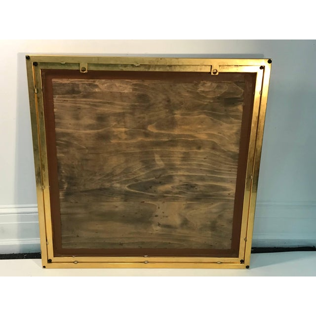 Gold Modern Square Gold Tone Framed Metal Mirror For Sale - Image 8 of 10