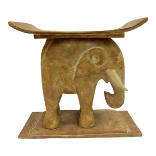 Vintage Solid Resin Elephant Side Table For Sale