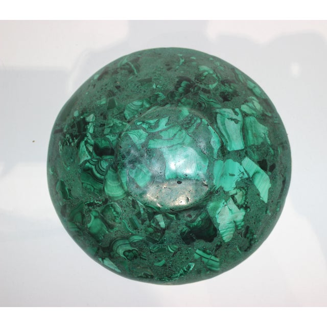 Green Hand-Crafted Malachite Bowl With Scalloped Brass Edging For Sale - Image 8 of 12