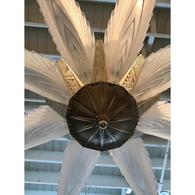 """French Art Deco """"Feather"""" Chandelier For Sale - Image 9 of 13"""