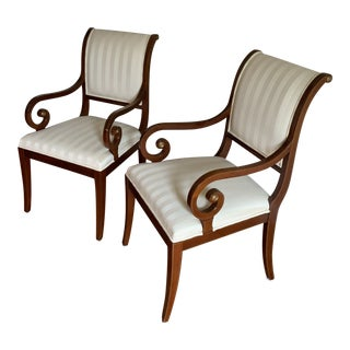 1990s Vintage Neoclassical Sleigh Back Armchairs - a Pair For Sale