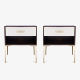 Astor Tall Brass Nightstands in Ebony Walnut and Ivory Lacquer by Montage, Pair Preview