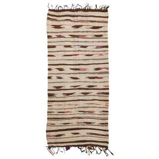 Vintage Moroccan Flat Woven Kilim Rug - 4′1″ × 8′10″ For Sale