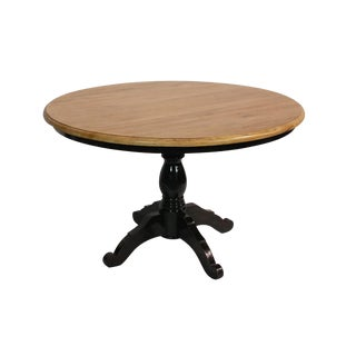 Round Reclaimed Wood Black Dining Table For Sale