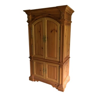 1980s Traditional Knotty Pine Armoire