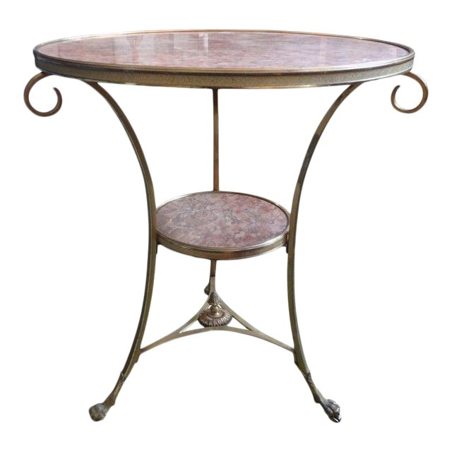 French Louis XVI Style Two Tier Bronze Dore and Marble Gueridon For Sale