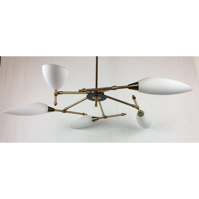 Maison Arlus Mid-Century Glass Globe Directional Chandelier by Maison Arlus For Sale - Image 4 of 12