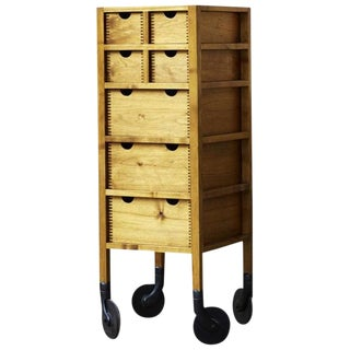 AKMD Collection Tall Solid Wood Shaker-Inspired Modern Rolling Dresser