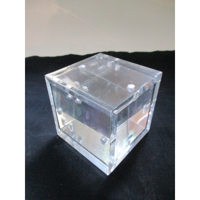 Lucite Cube Paperweight Picture Frame - Image 7 of 9