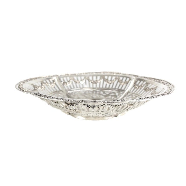 German 800 Silver Pierced Scalloped Repousse Floral Swags Rim Bowl, Circa 1900 - Image 5 of 5