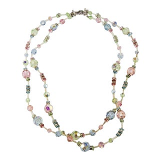 Vendome Pastel Crystals and Rhinestone Bead Necklace For Sale