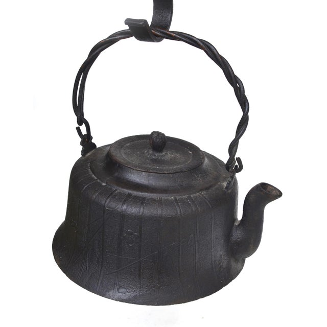 Black Antique Japanese Jizai Kagi Country Fish Hook Pot Hanger With Teapot For Sale - Image 8 of 13