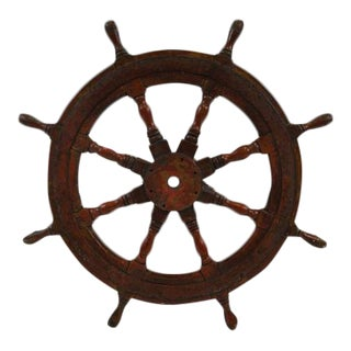 Large Antique Nautical Ships Wheel