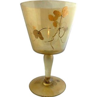Art Nouveau Gold Leaf Pedestal Ice Bucket/Vase For Sale