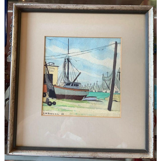 1950s Harbor Scene Watercolor Painting by Earle M. Scherm For Sale - Image 5 of 5