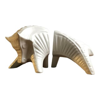Vintage Jonathan Adler White Bull Figurative Bookends For Sale