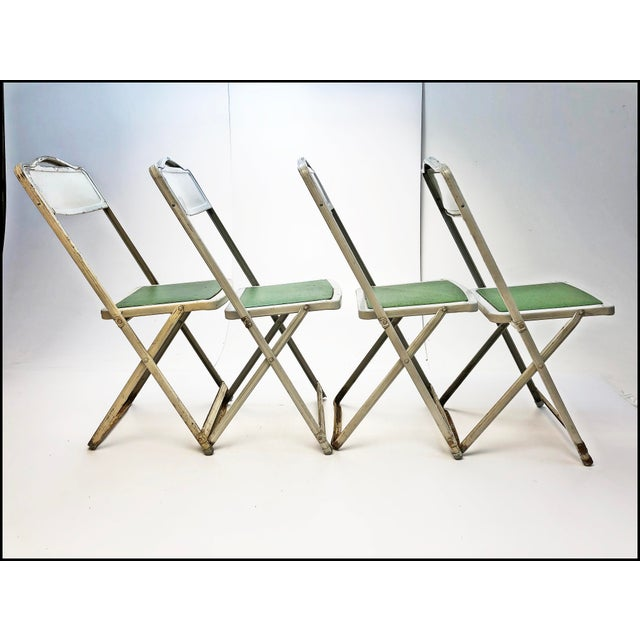 Vintage White Metal Folding Chairs With Green Vinyl Seats - Set of 4 For Sale - Image 4 of 11