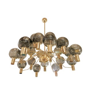 Extra Large Mid-Century Modern Glass Globes 24-Light Chandelier Attr to Ha. Jakobsson For Sale