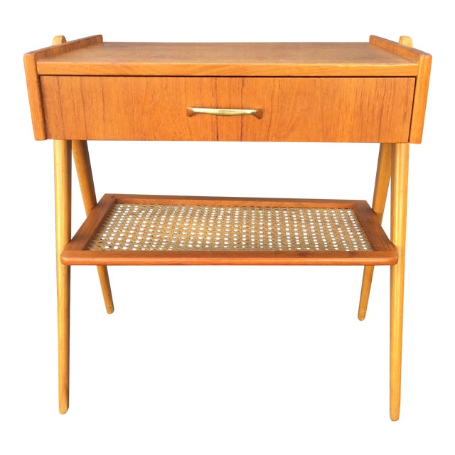 Vintage Danish Mid Century Modern Teak Oak Side Table For